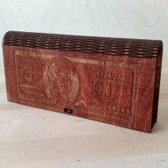 Laser Cut Wooden 100 Dollar Bill Money Box Free Vector