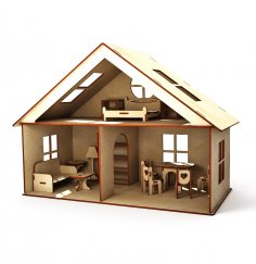 Laser Cut Cottage Dollhouse With Furniture Kids Toy Set Free Vector