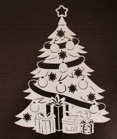 Laser Cut Cute Christmas Tree Decoration Wooden Christmas Ornament DXF File