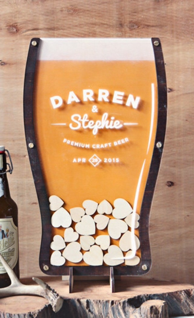Laser Cut Beer Drop Hearts Wedding Guest Books Alternative Free Vector