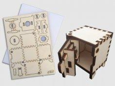 Laser Cut Wooden Mini Safe Vault Toy For Kids Free Vector