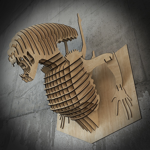 Alien 3D Wall Decor Laser Cutting Template Free Vector
