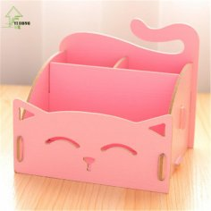 Laser Cut Cute Cat Desktop Storage Box Organizer Pen Holder Free Vector