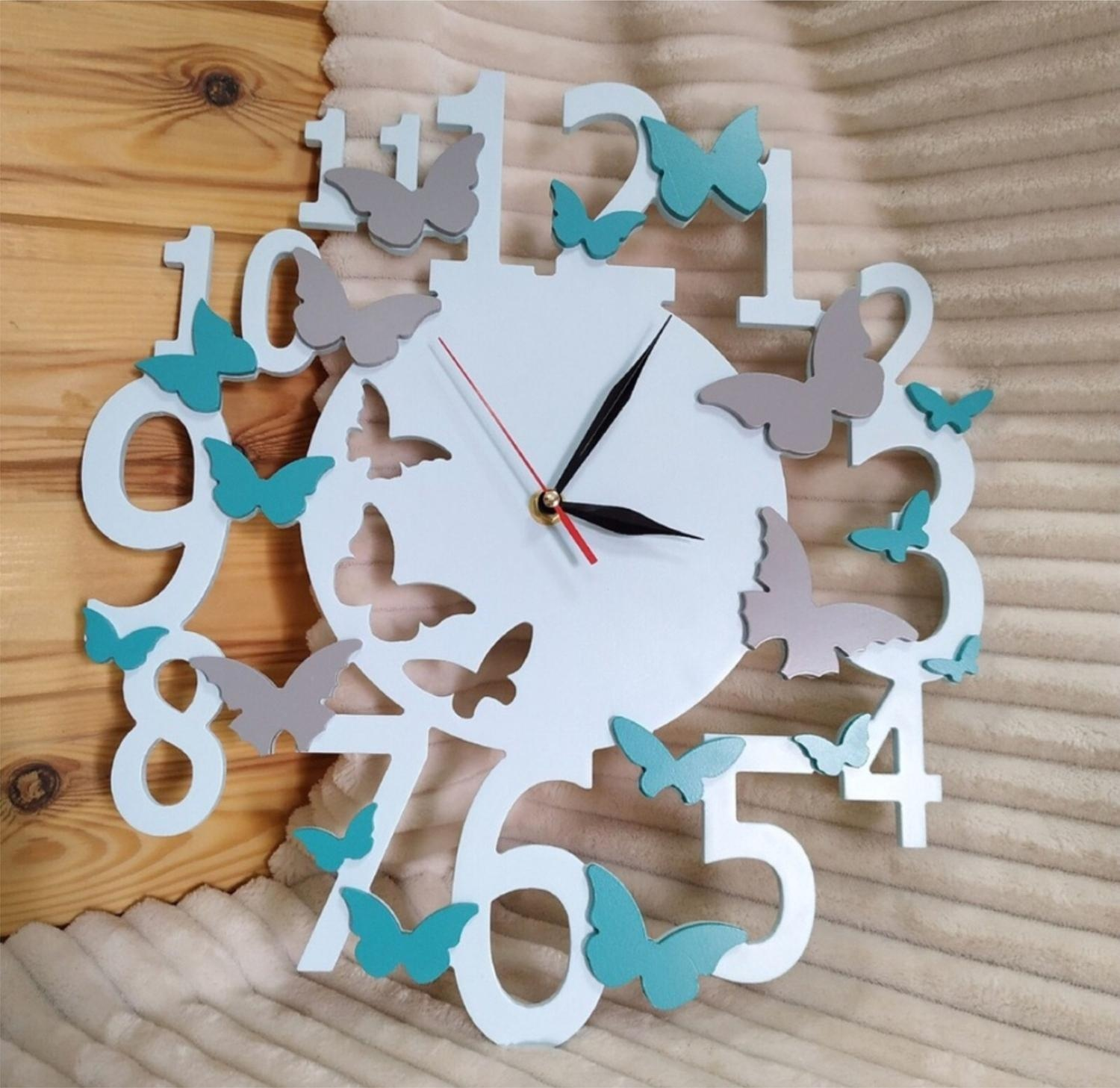 Laser Cut Decorative Wall Clock With Butterflies Free Vector