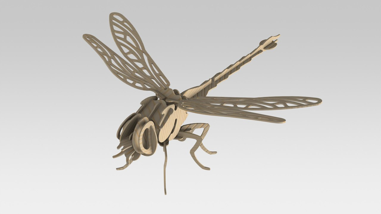 Laser Cut Wooden Dragonfly 3D Model 2mm DXF File