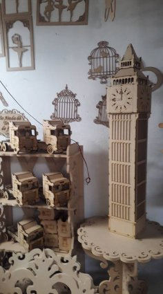 Laser Cut Big Ben Wooden Model 3D Puzzle DXF File