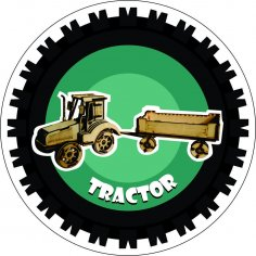 Tractor 3D Puzzle Laser Cut Free Vector