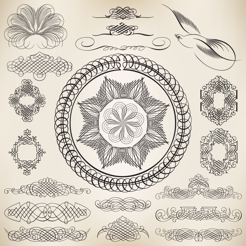 Decorative Line Art Ornaments Free Vector