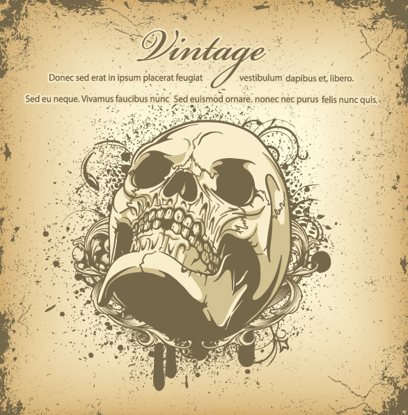 Vintage Skull T shirt Graphic Design Free Vector