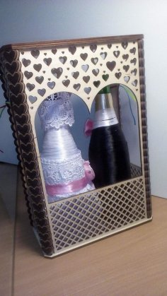 Laser Cut Decoration of Wedding Bottles Free Vector
