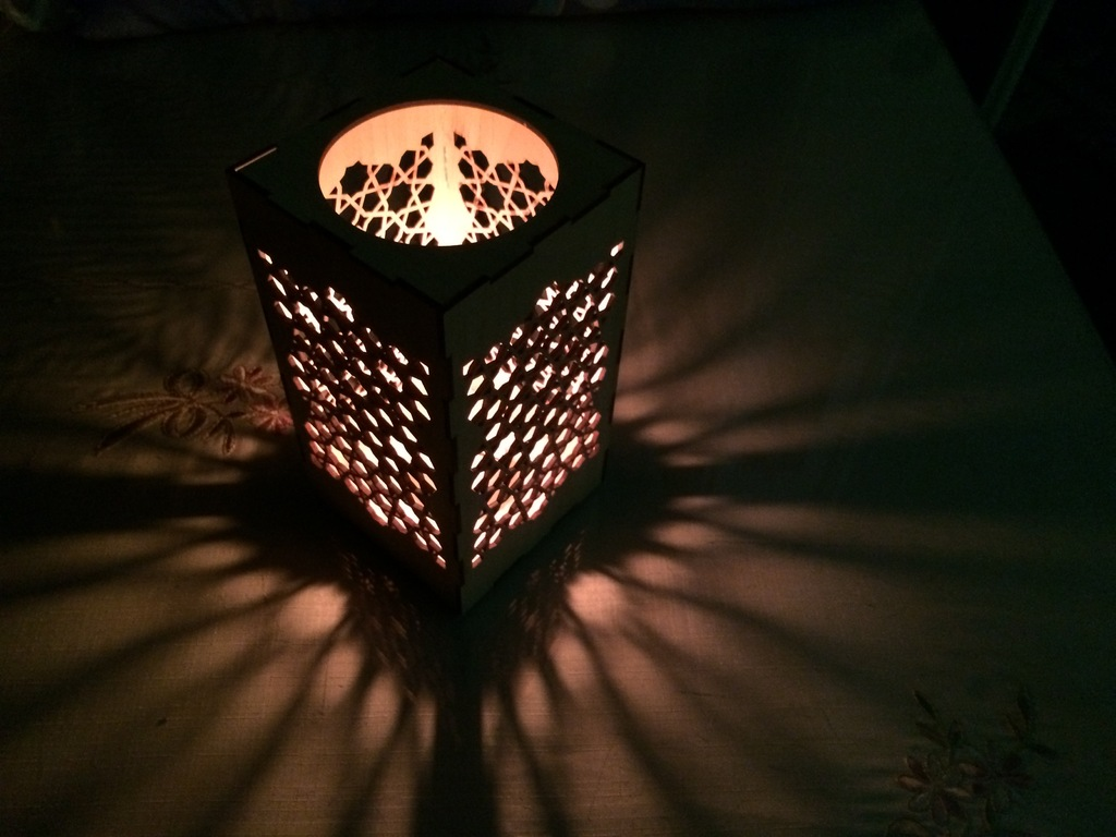 Laser Cut Candle Holder Nightlight Template Free Vector