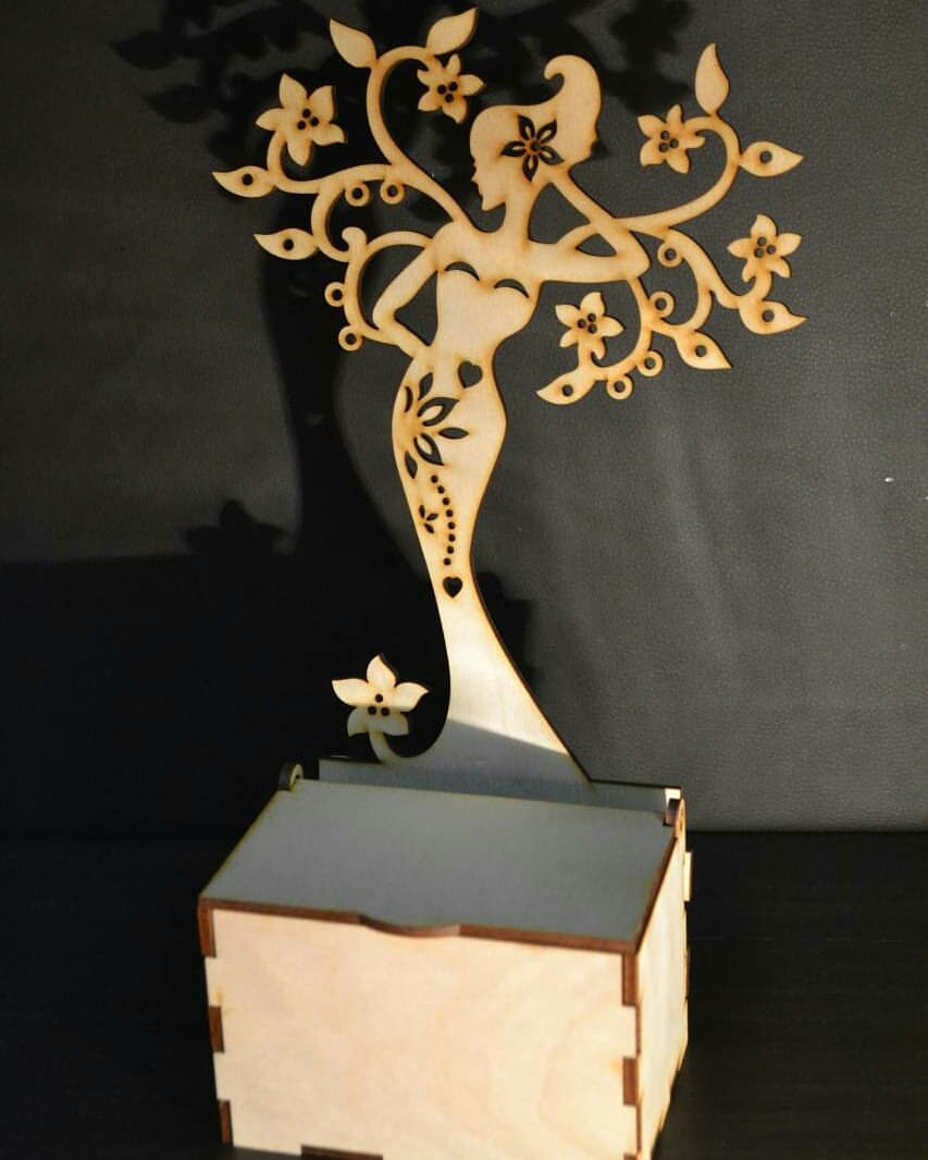 Laser Cut Jewelry Box with Girl 4mm Free Vector