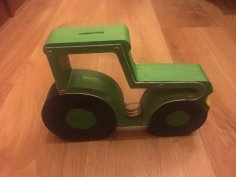 Laser Cut Tractor Piggy Bank DXF File