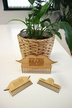 Laser Cut Wooden Beard Combs 3mm MDF PDF File