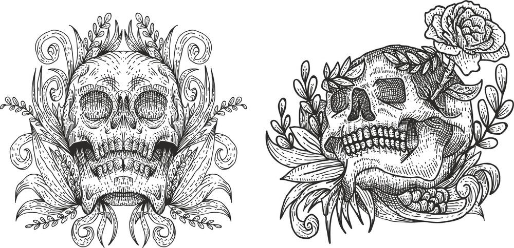 Skulls Print Dec Free Vector