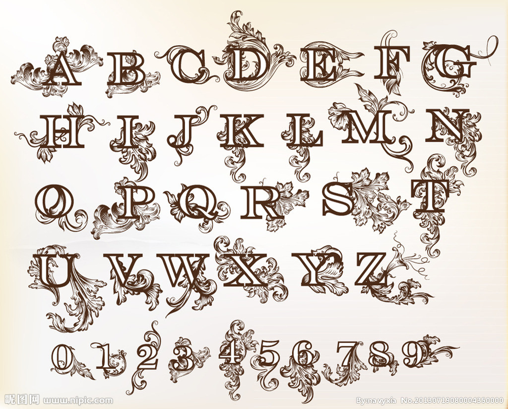 Baroque Floral Letters Free Vector
