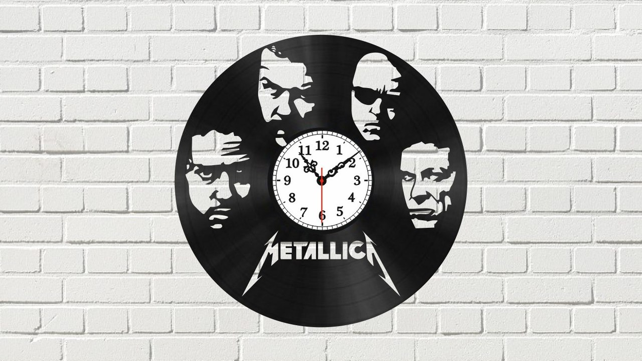Laser Cut Metallica Wall Clock Free Vector