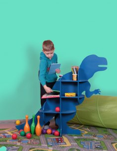 Laser Cut Dinosaur T-Rex Shelf Furniture CNC Plans DXF File