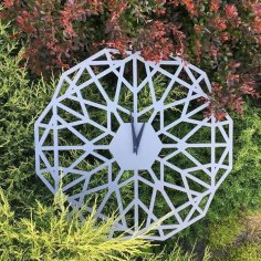 Laser Cut Geometric Clock CNC Template Free Vector