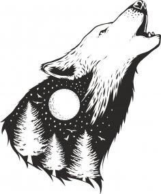 Wild Wolf Print Free Vector