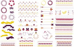 Ornament Color Set Free Vector