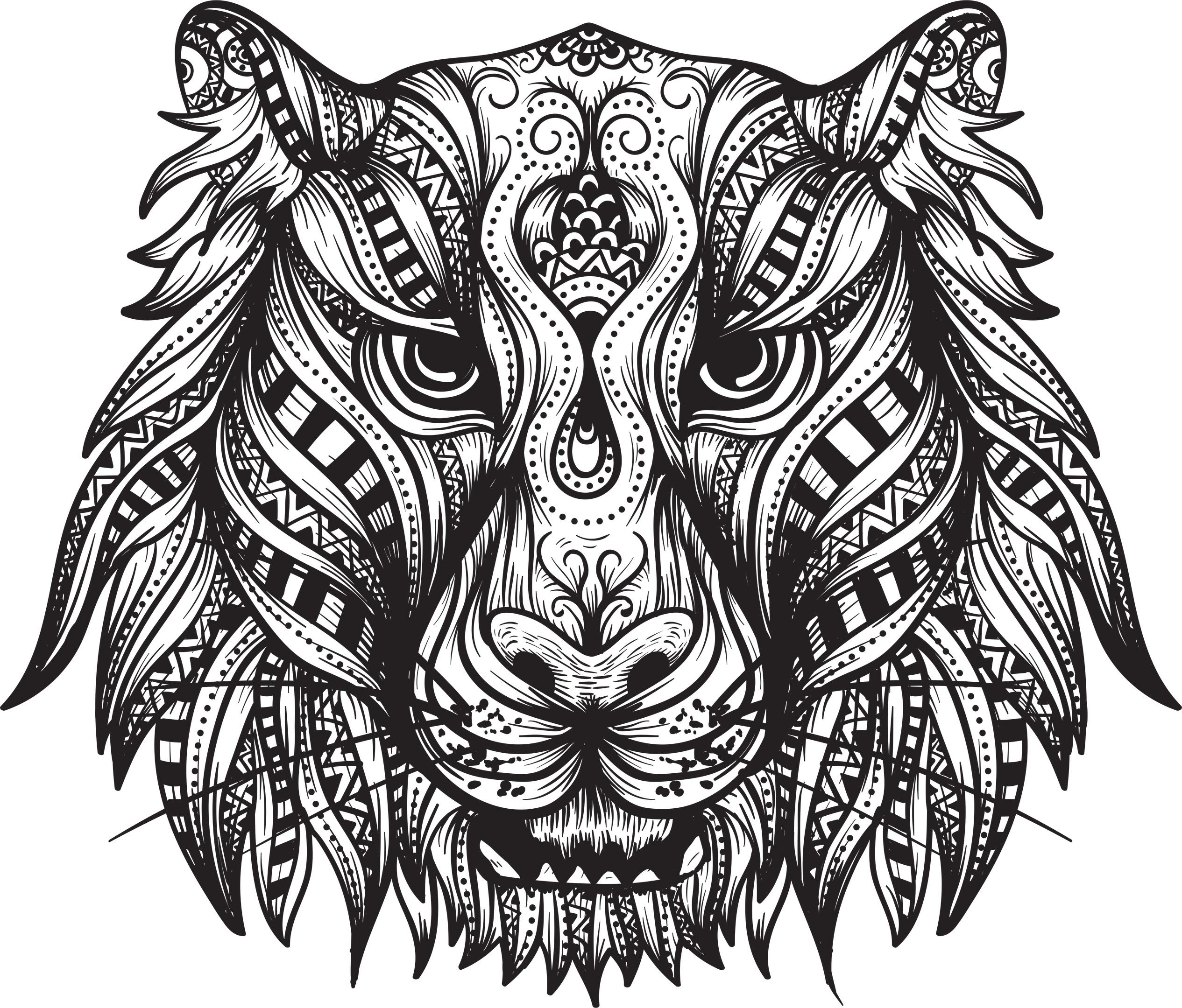 Tiger Head Print Free Vector