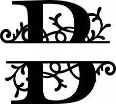Split Monogram Letter B DXF File