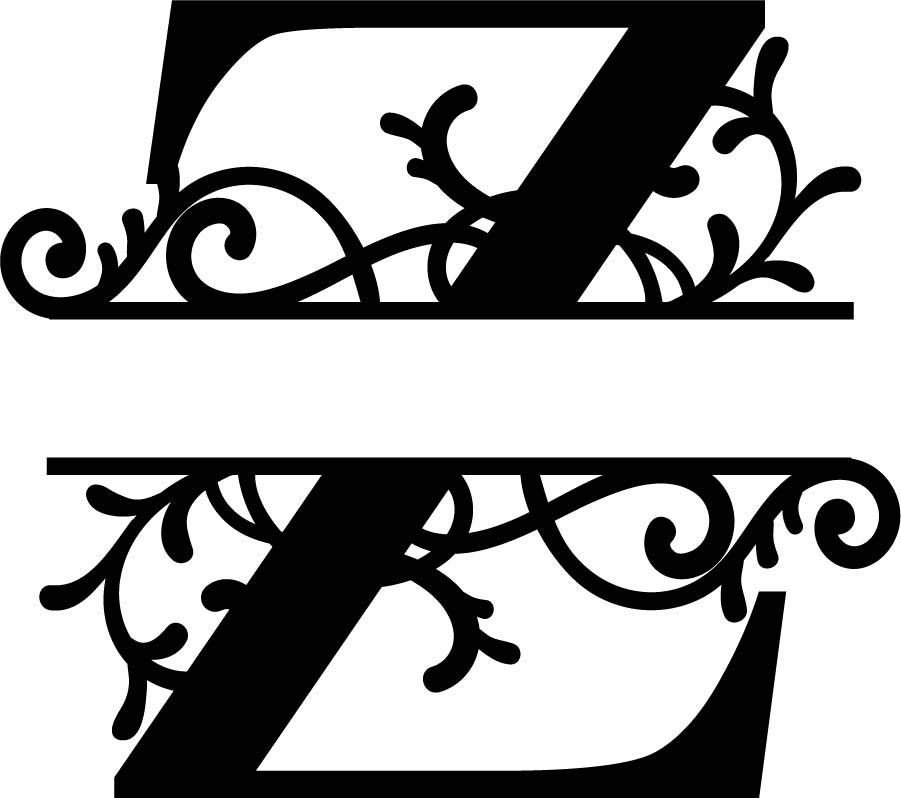Split Monogram Letter Z DXF File