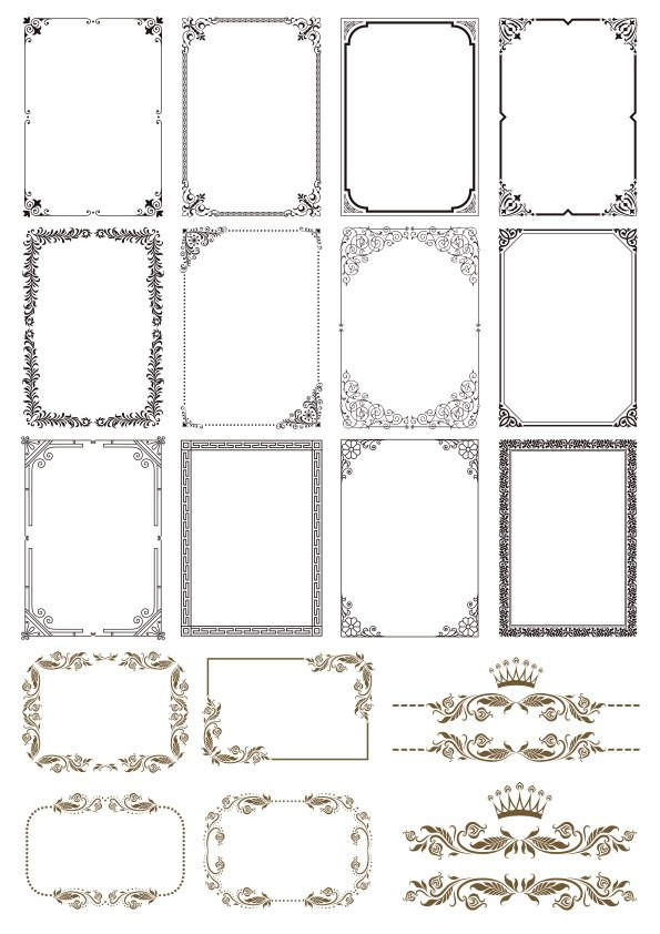 Gold Border Frames Free Vector