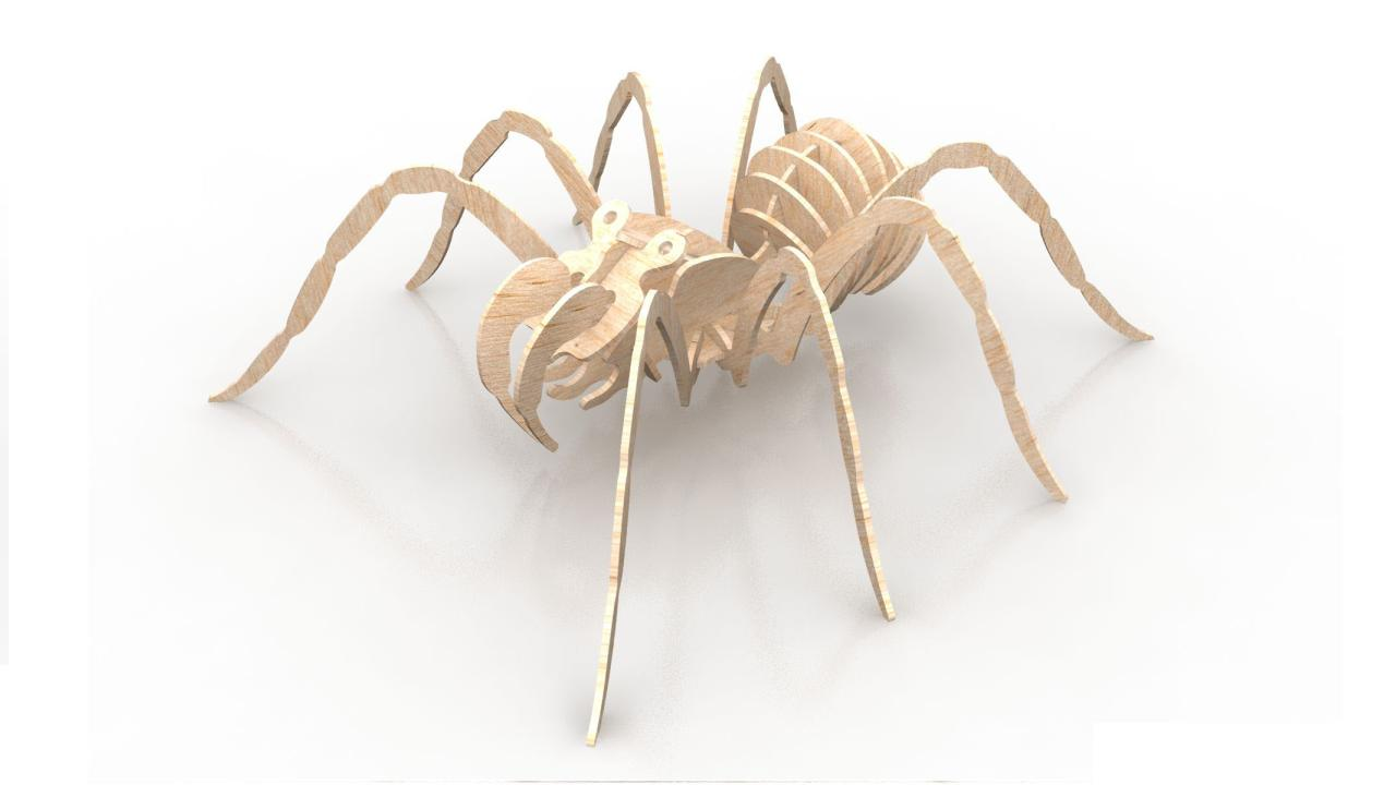 Spider 6mm Wood Insect 3d Puzzle DXF File