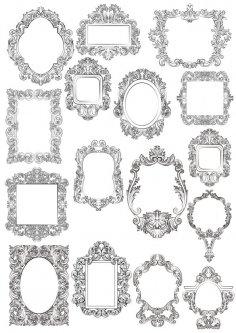 Baroque Floral Frames Free Vector