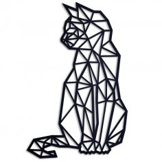 Laser Cut Geometric Cat Wall Art Free Vector