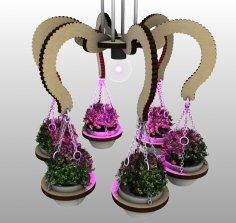 Laser Cut Wooden Chandelier Planters Pendant Lamp Planter DXF File
