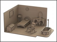 Laser Cut Miniature Dollhouse Furniture DXF File