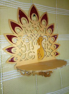 Laser Cut Wooden Peacock Wall Bracket Wall Mount Shlef DXF File
