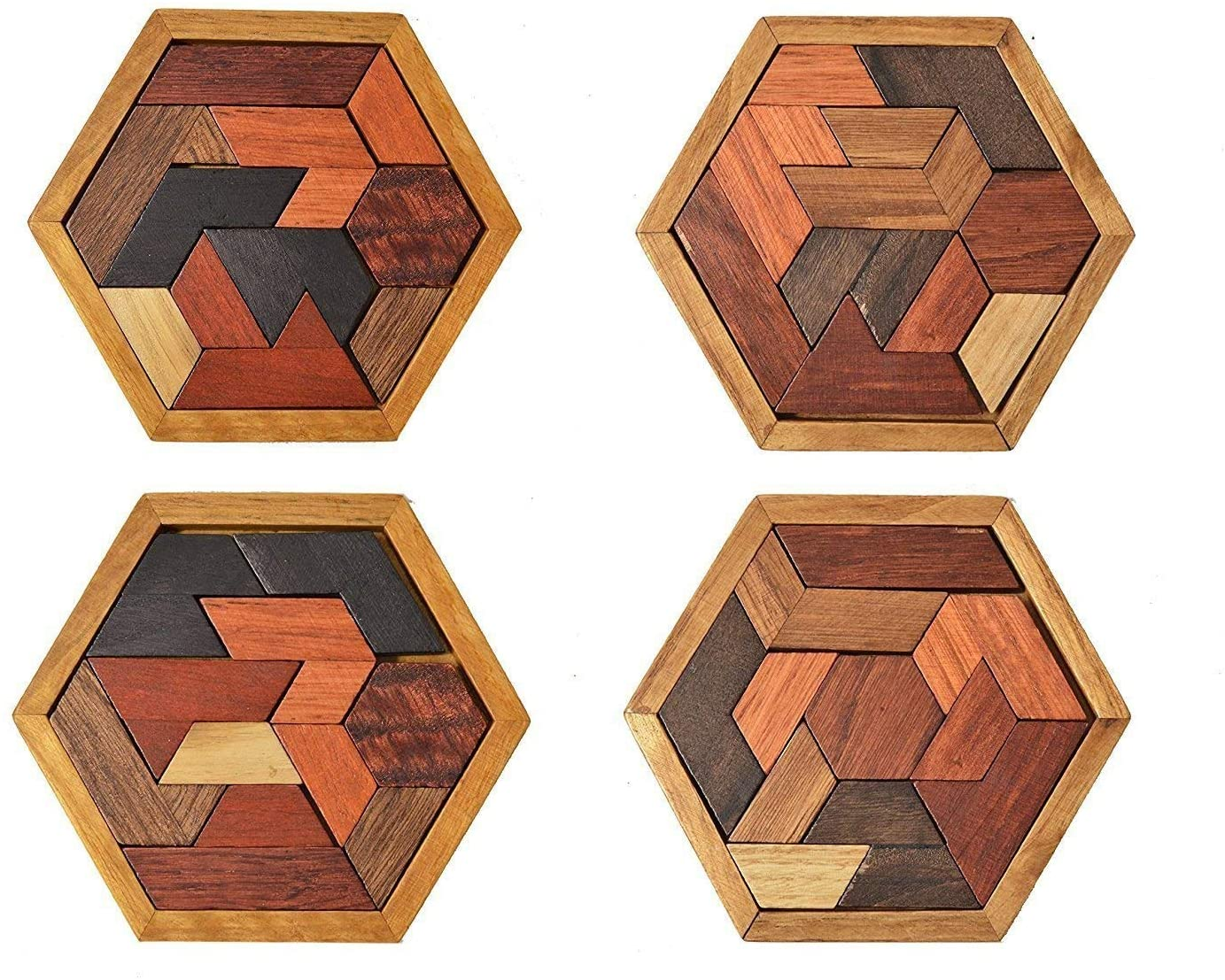 Laser Cut Wooden Hexagon Puzzle Game For Kids Educational Gift Free Vector