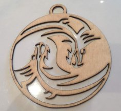 Laser Cut Dragon Yin Yang DXF File