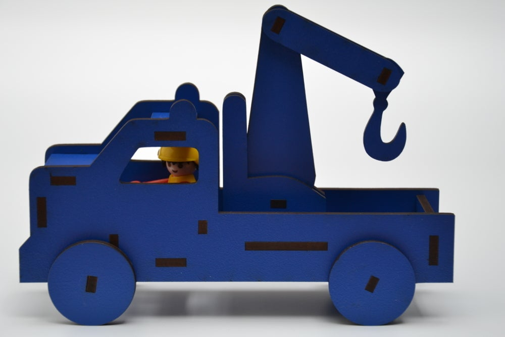 Laser Cut Playmobil Tow Truck Toy For Kids 4mm MDF SVG File