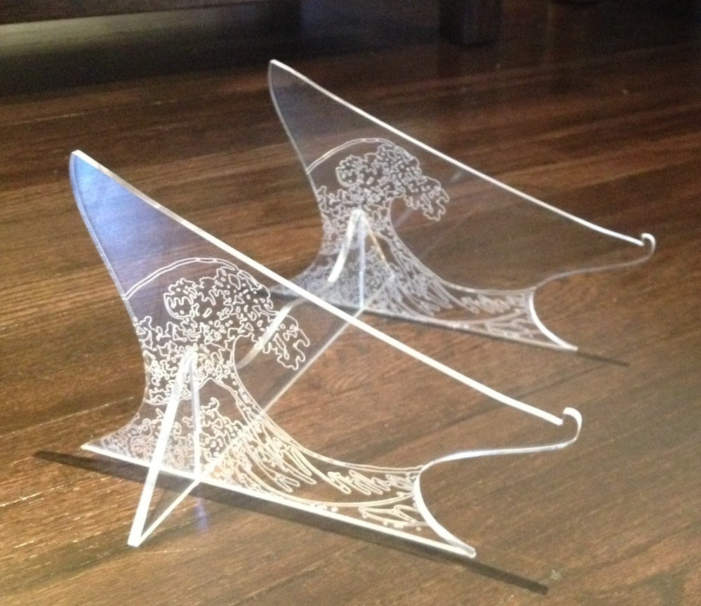Laser Cut Hokusai Wave Laptop Stand For Macbook Air SVG File