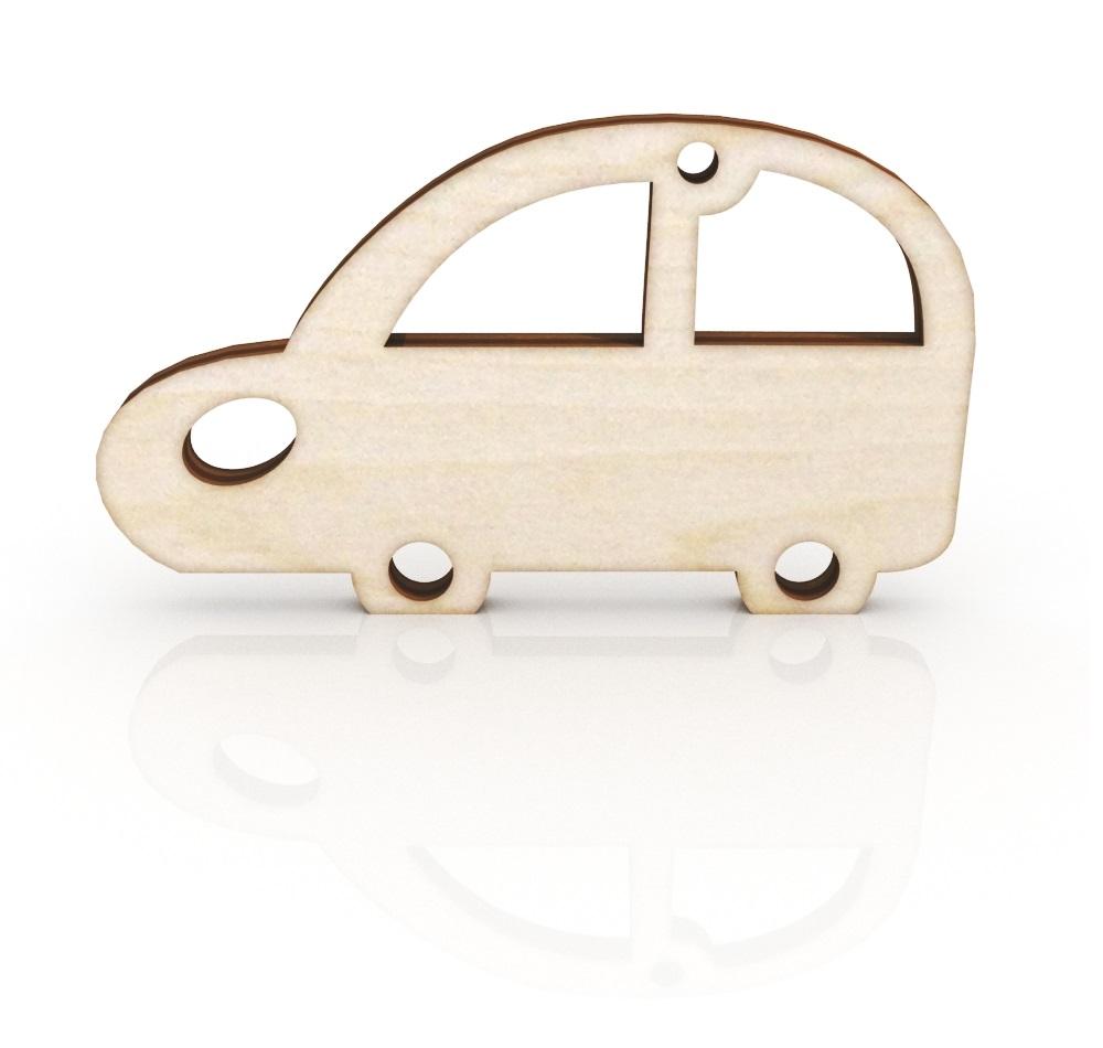 Laser Cut Retro Car Keychain Wooden Key Ring Free Vector