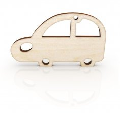 Laser Cut Retro Car Keychain Wooden Key Ring Free Vector