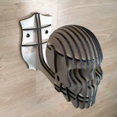 Laser Cut Skull Wall Mount Helmet Holder Free Vector