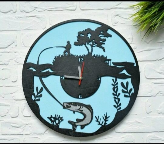 Clock For The Fisherman Free Vector
