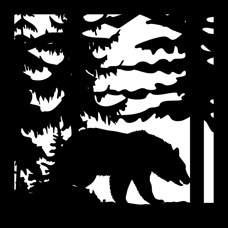 24 X 24 Bear Trees Plasma Art Cut Ready DXF File