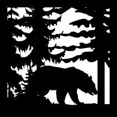 24 X 24 Bear Trees Plasma Art Cut Ready DXF File
