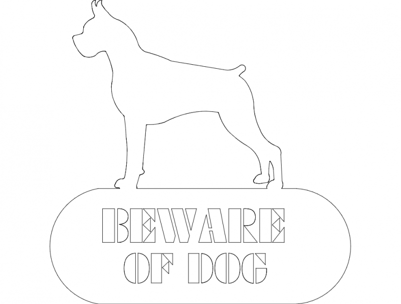 Boxer Beware Of Dog dxf File