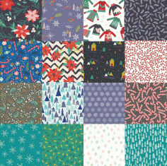 Set of Winter Patterns Free Vector