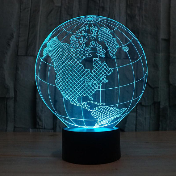 Planet Earth 3d illusion acrylic lamp DXF File
