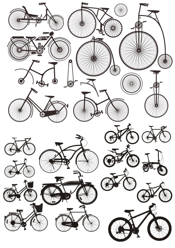 Bicycles Stickers Free Vector