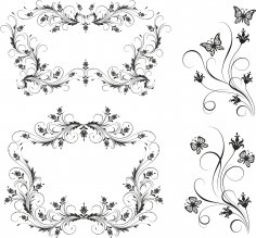 Floral Borders Set Free Vector